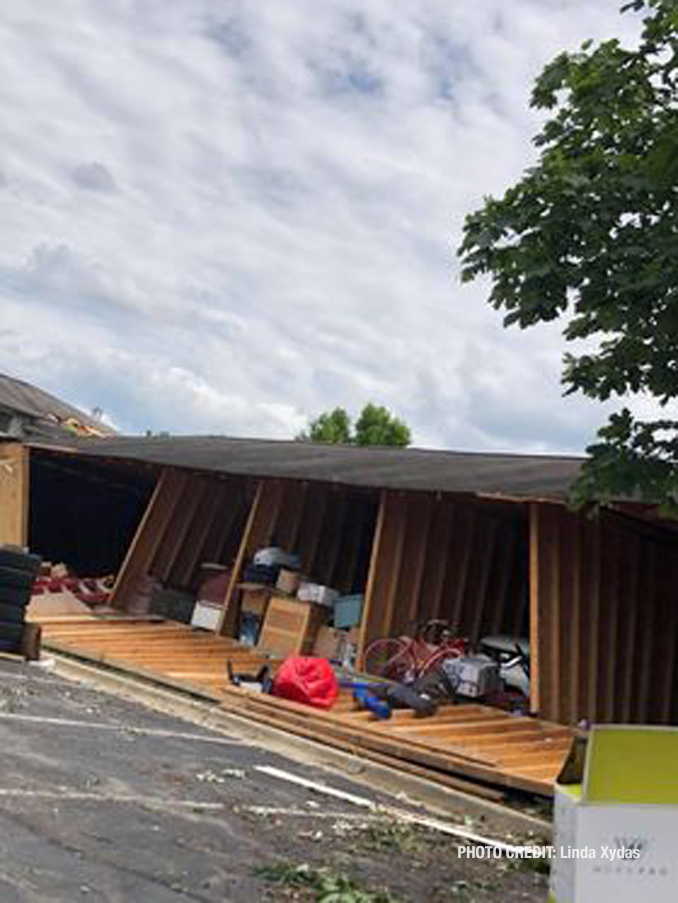 Tornado damage to a storage garage  at The Estates of Thornberry Woods on Gladstone Drive just south of 75th Street near the border of Naperville and Woodridge