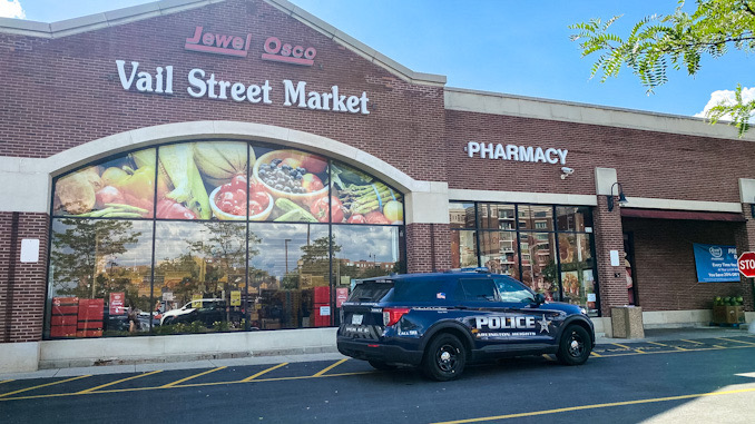 Police at the scene the Jewel-Osco after an alleged shoplifting