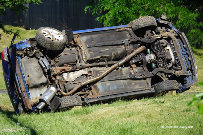 Blue Subaru rolled in crash on Washington Street west of Cemetery Road in Gurnee (PHOTO CREDIT: Jimmy Bolf)