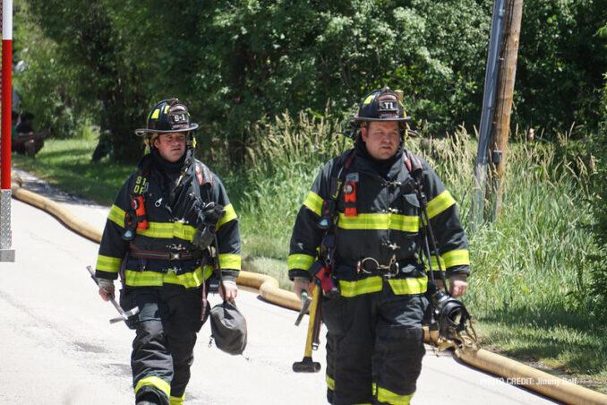 Fireground scene at Lake Zurich house fire on Monday, June 14, 2021 (PHOTO CREDIT: Jimmy Bolf)