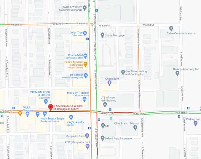 63rd Street and Artesian Avenue Traffic View (Map data ©2021 Google)
