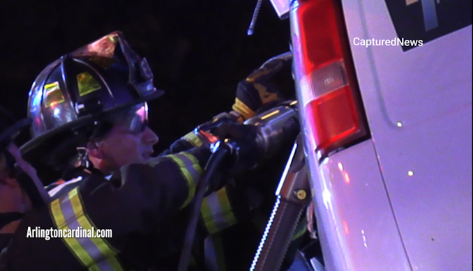 Extrication on the driver's side of a Chevrolet work van
