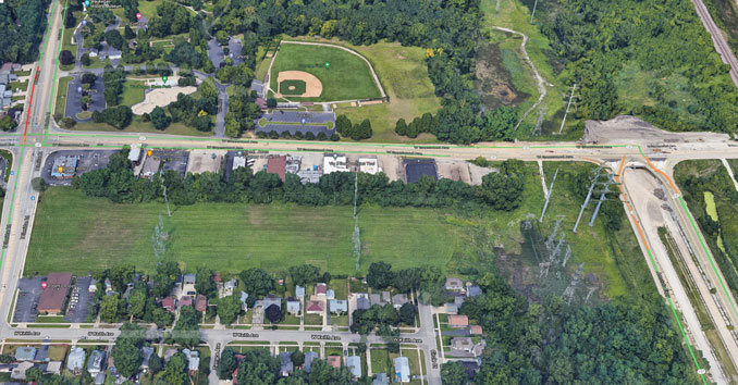 Bowen Park and north end of Amstutz Expressway in Waukegan Aerial (Imagery ©2021 Google, Imagery ©2021 Maxar Technologies, U.S. Geological Survey, Map data ©2021 Google)