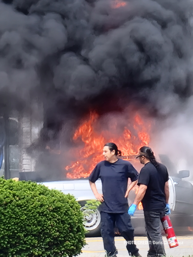 Vehicle fire scene at America's Best Car Wash in Mount Prospect on South Elmhurst Road in Mount Prospect (PHOTO CREDIT: Doris Charewicz)