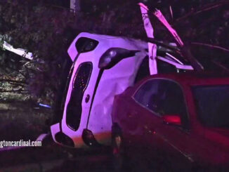 Tornado tosses Kia on side at The Estates of Thornberry Woods near the border of Naperville and Woodridge in Illinois