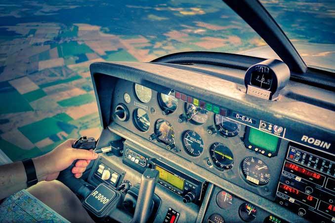 Cockpit in flight