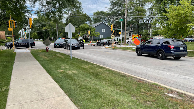 Toyota SUV (left) with left-front damage and Hyundai sedan at Arlington Heights Road and Olive Street on Friday, July 30, 2021