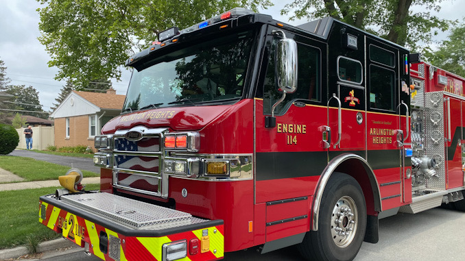 Arlington Heights Fire Engine 2 in the block of 1200 North Walnut Avenue for a downed power line Wednesday, July 21, 2021