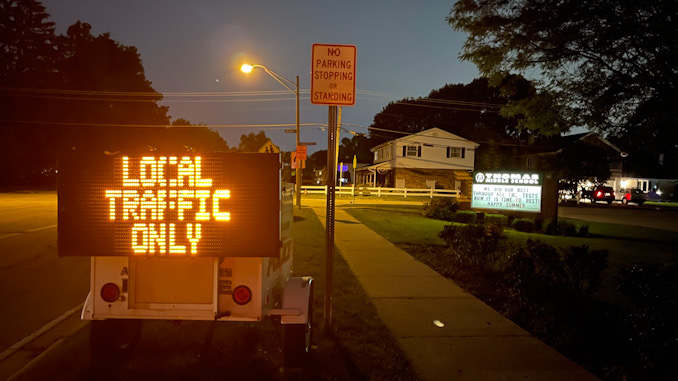Local Traffic Only displayed at sign at Thomas Street and Belmont Avenue in Arlington Heights