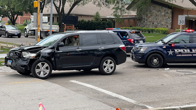 Toyota SUV with left-front damage at Arlington Heights Road and Olive Street on Friday, July 30, 2021