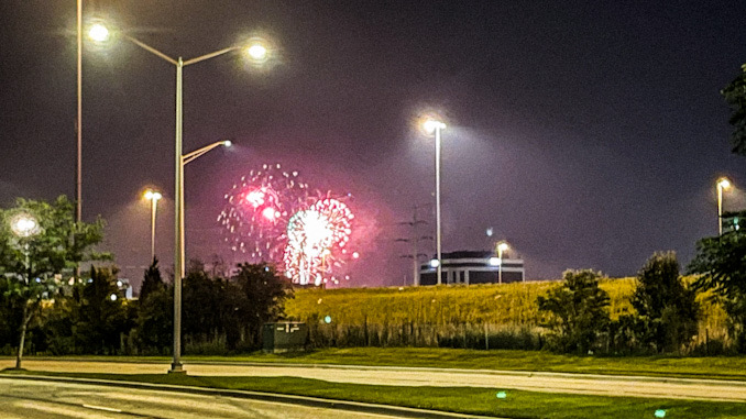 Fireworks over Route 53 during Illinois State Police crash investigation on July 4, 2021 about 9:49 p.m.