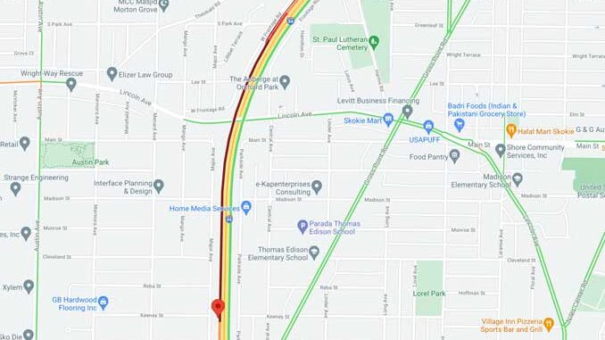 Crash Map Edens southbound near a point just north of Oakton Street (SOURCE: Map data ©2021 Google)
