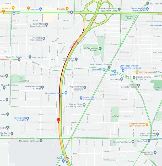 Crash Map Edens southbound near just north of Dempster Street (SOURCE: Map data ©2021 Google)