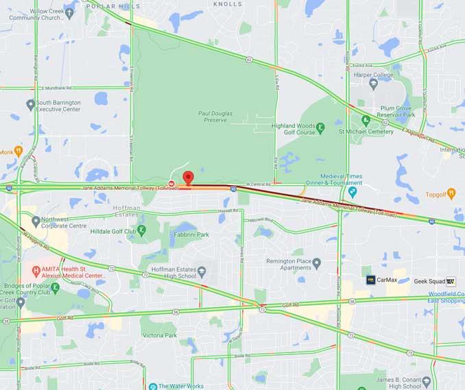 Crash Map I-90 July 30 2021 (SOURCE: Map data ©2021 Google)