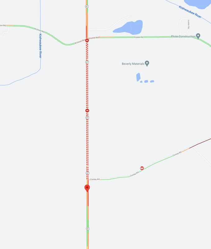 Crash scene map Route 47 near Conley Road on Saturday, July 24, 2021