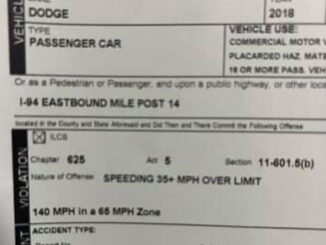 Partial view of citation for motorist driving a blue 2018 Dodge 140 MPH or 75 MPH over the 65 MPH Speed Limit (SOURCE: Illinois State Police District 15 on Facebook)