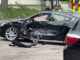 Hyundai sedan with driver's side damage at Arlington Heights Road and Olive Street on Friday, July 30, 2021