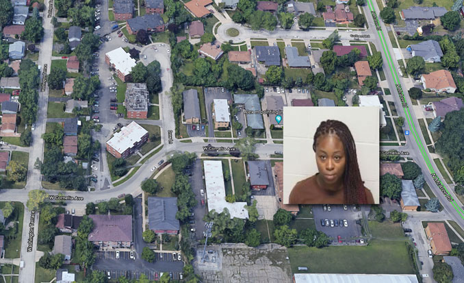 Lakeesha Donley booking photo and neighborhood of aggravated battery crime scene (SOURCE: Lake County Sheriff's Office/Imagery ©2021 Google, Imagery ©Maxar Technologies, U.S. Geological Survey Map data ©2021)