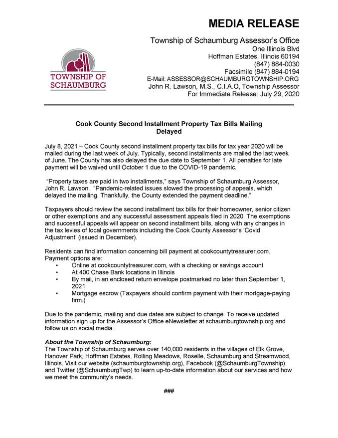 Schaumburg Township Media Release, July 8, 2021