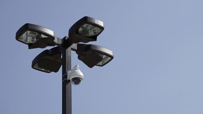 Security camera on a light post