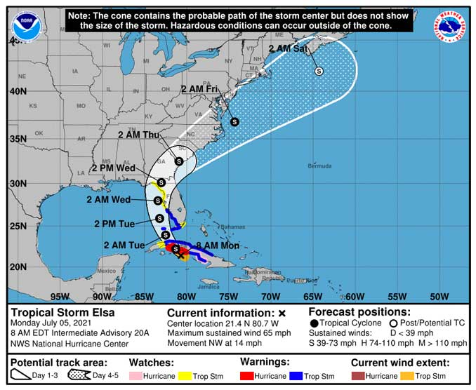 Tropical Storm Elsa Warnings Cone July 5 2021 at 8A EDT (SOURCE: National Hurricane Center)