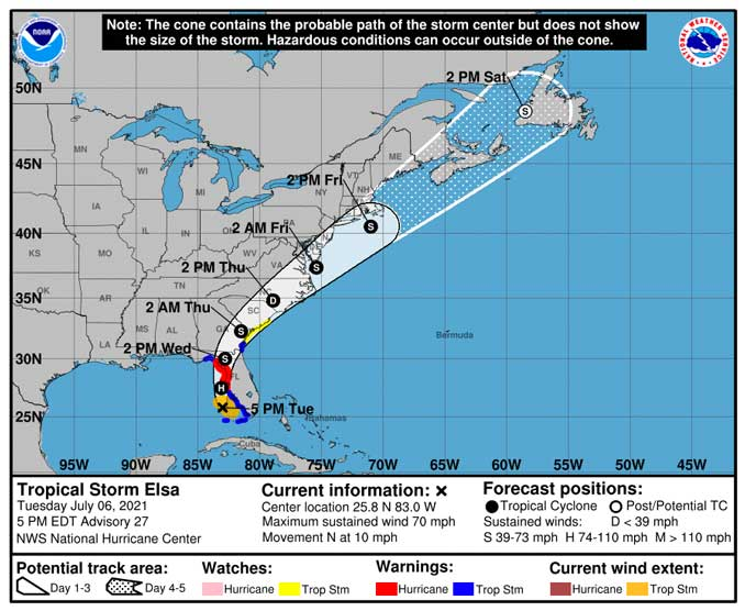 Tropical Storm Elsa Hurricane Cone Tuesday, July 6, 2021 at 5:38 EDT.