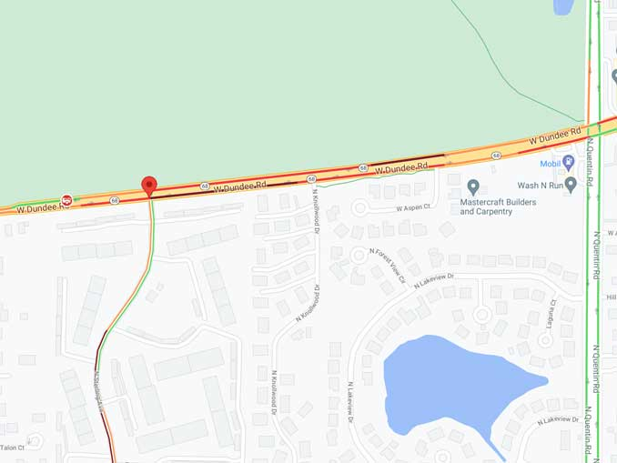 Traffic crash scene map near Sterling Avenue and Dundee Road in Palatine (Map data ©2021 Google)
