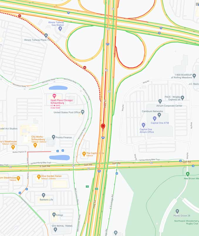 Traffic Map fatal motorcycle crash southbound Route 53 between I-90 and Golf Road Schaumburg
