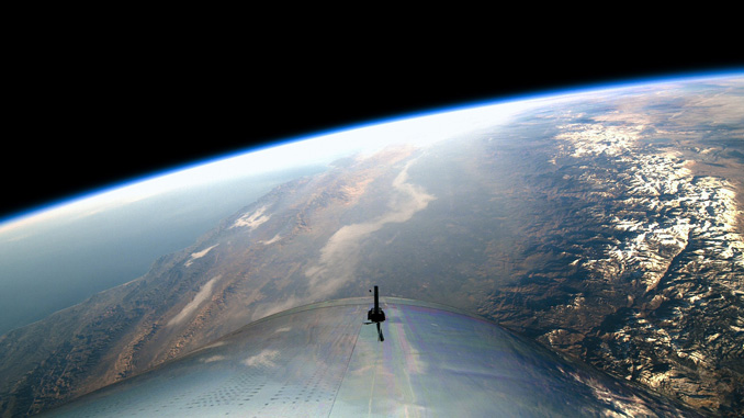 Virgin Galactic view from Space on first spaceflight in 2018