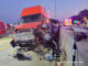 Semi-trailer truck crash with pickup truck on I-94 EAST just north of Wadsworth Road in Lake County
