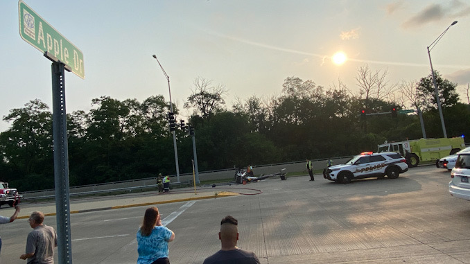 Helicopter crash landing in northbound lanes of Milwaukee Avenue at Apple Drive in Prospect Heights
