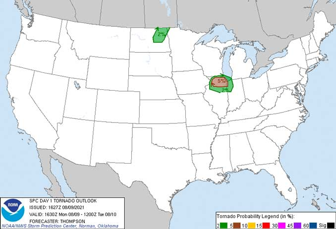 Convective Outlook 1 Day Monday, August 9, 2021 (SOURCE: NWS Storm Prediction Center