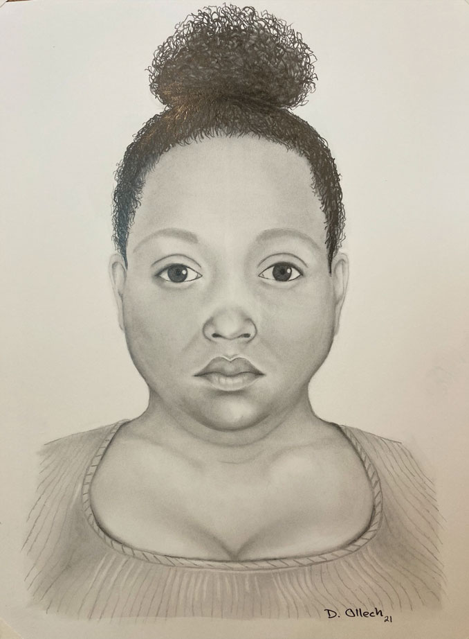 Facial composite sketch of woman's body found in Lake Michigan (CREDIT: Dirk Ollech, Mount Prospect Police Department)