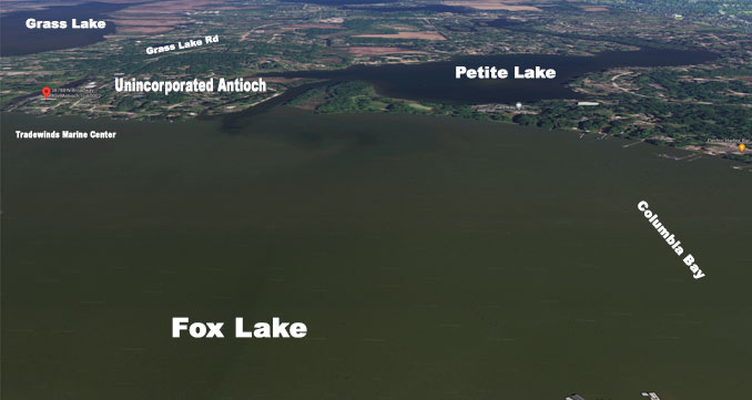 Fox Lake showing Columbia Bay and Tradewinds Marine Center (SOURCE: Imagery ©2021 Google, Landsat / Copernicus, Data SIO, NOAA, U.S. Navy, NGA, GEBCO, Imagery ©2021 Maxar Technologies, U.S. Geological Survey, USDA Farm Service Agency map data ©2021)