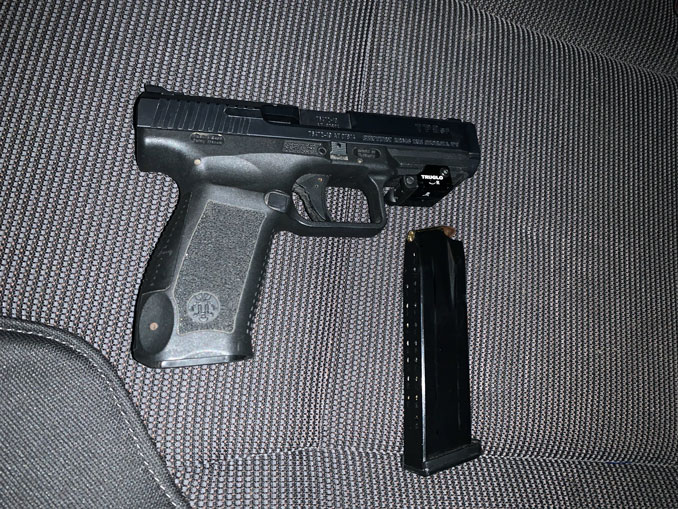 Handgun with TruGlo MicroLaser laser sight (SOURCE: Lake County Sheriff's Office)