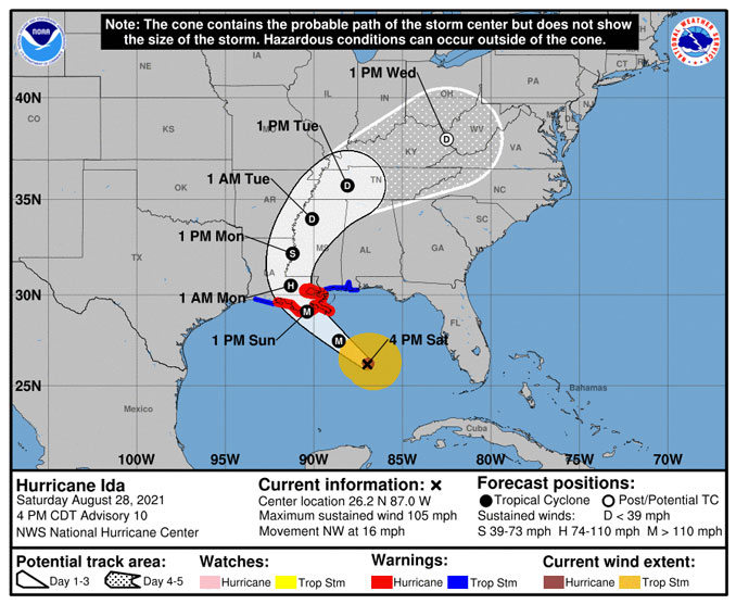 Hurricane Ida Warning Cone retrieved at 6:05 p.m. CDT Saturday, August 28, 2021 (SOURCE: National Hurricane Center)