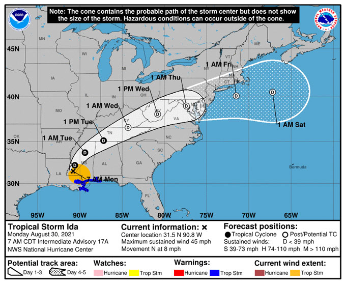 Hurricane Ida Warning Cone Monday, August 21, 2021 at 7:00 a.m. (SOURCE: National Hurricane Center)