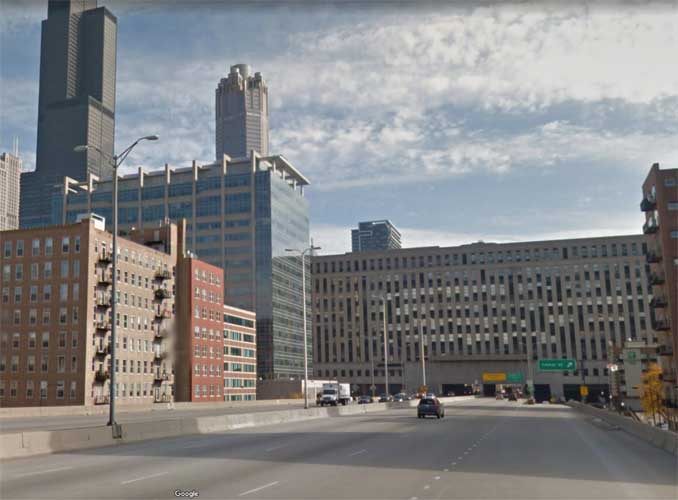 I-290 EAST and Canal Street Chicago just before the old US Post Office (Image capture: October 2021 Google)