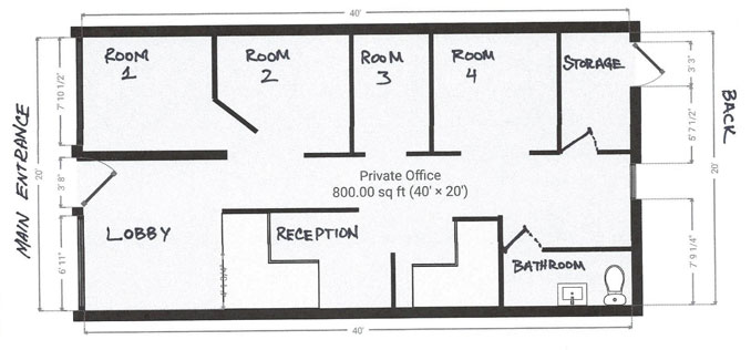 Midwest Tattoo Therapy floor plan at 19 North Wilke Road in Arlington Heights