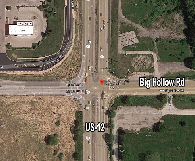 US-12 and Big Hollow Road Fox Lake (Imagery ©2021 Google, Imagery ©2021 Maxar Technologies, U.S. Geological Survey, Map data ©2021 Google)