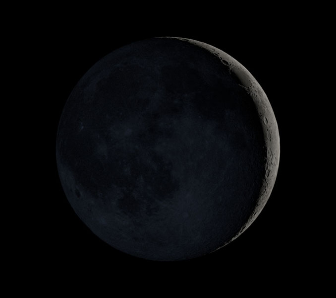 Waxing Crescent Moon Tuesday, August 10, 2021 at 7:00 PM (SOURCE: NASA Scientific Visualization Studio).
