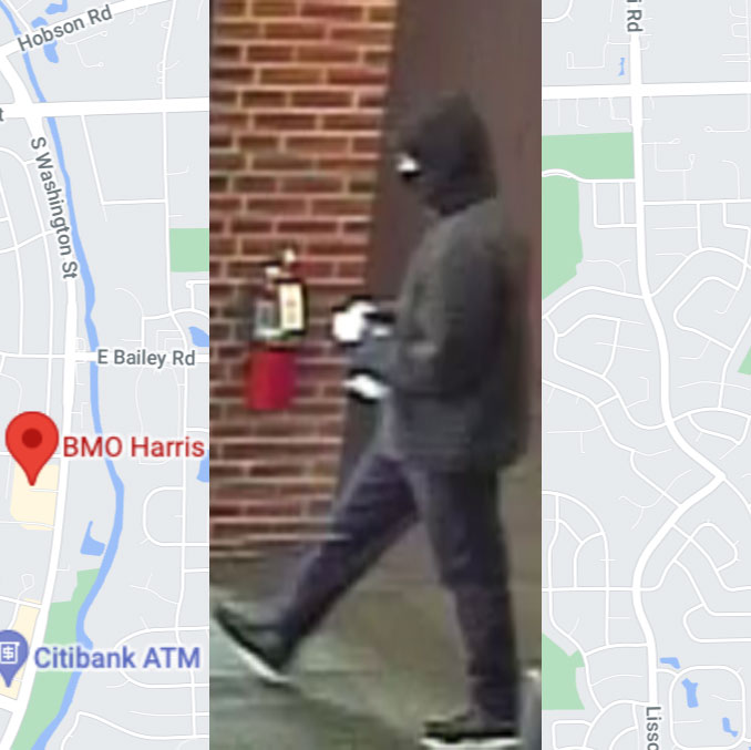 Bank robbery suspect at BMO Harris Bank on Washington Street in Naperville on Wednesday, September 22, 2021