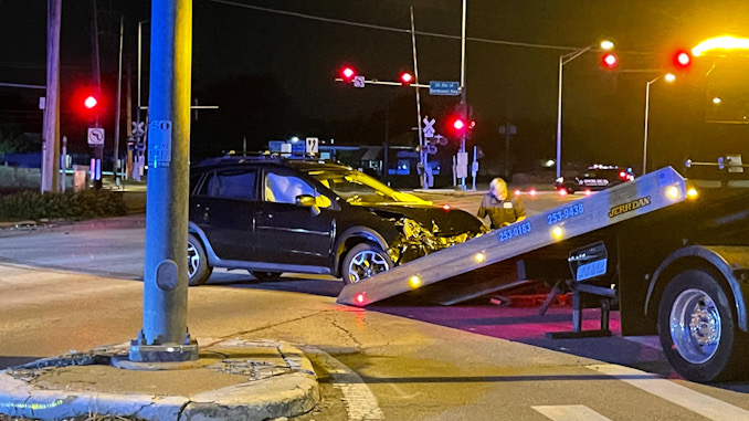 Vehicle prepared for towing at a crash scene at Northwest Highway and Euclid Avenue in Arlington Heights