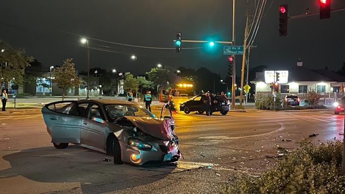 Crash scene at Northwest Highway and Euclid Avenue in Arlington Heights