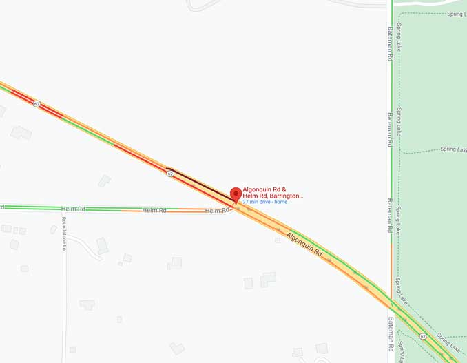 Map of Algonquin Road and Helm Road crash scene on Saturday, September 5, 2021 (Map data ©2021 Google)