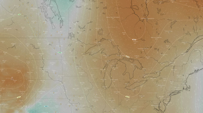 Chicago between two High Pressure areas with air pressure about 30.10 around Chicagoland (SOURCE: Windy.com)