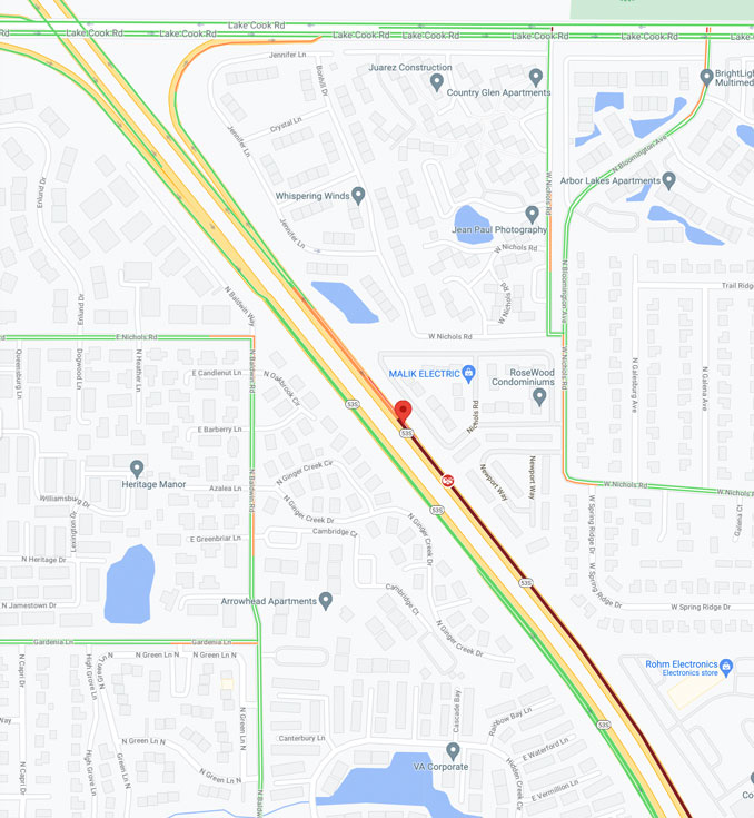 Crash map on northbound Route 53  south of Lake Cook Road on September 23, 2021 (Map data ©2021 Google)