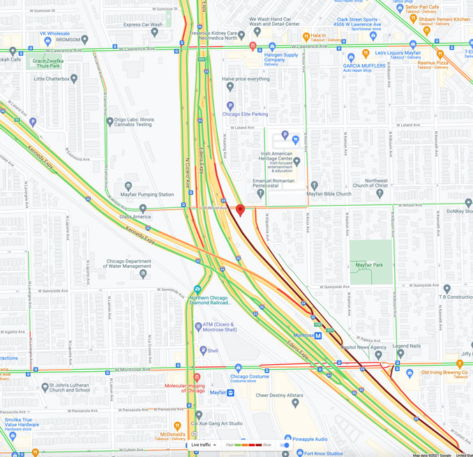 Edens Expressway and Wilson Avenue Chicago (Map data ©2021 Google)