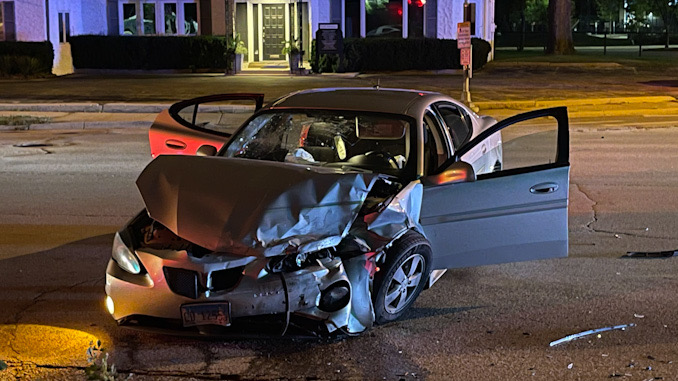 Severely damage car at a crash scene at Northwest Highway and Euclid Avenue in Arlington Heights