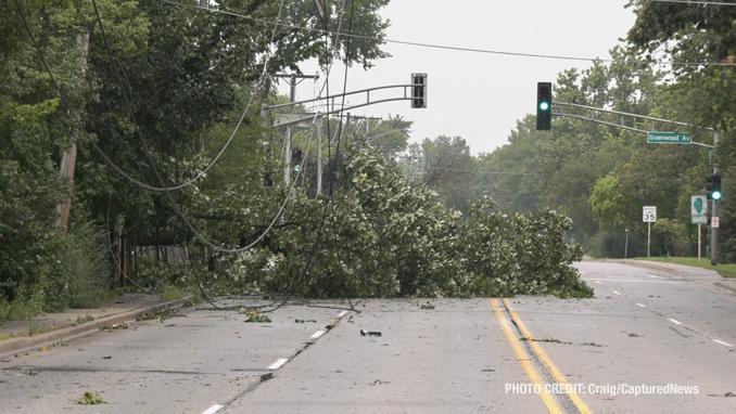 Storm damage at Waukegan Road and Greenwood Avenue in Deerfield (SOURCE: Craig/CapturedNews)